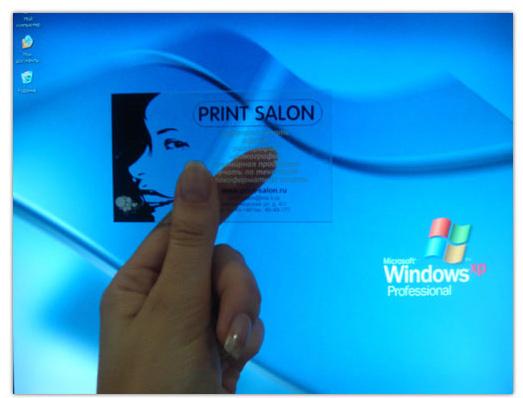 визитки на прозрачном пластике