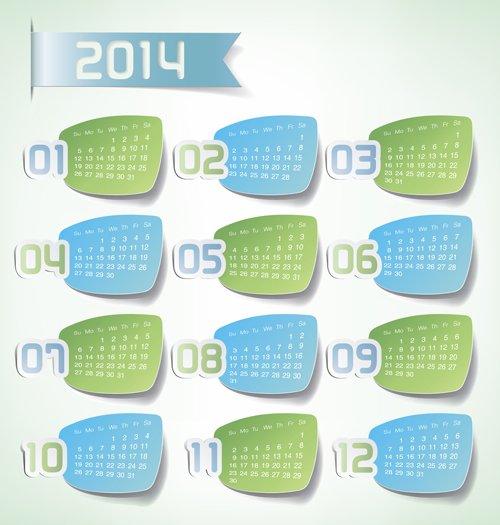 Цветной календарь на 2014 год.  Вектор.